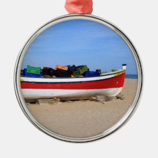 Boats in costa del Sol Silver-Colored Round Ornament