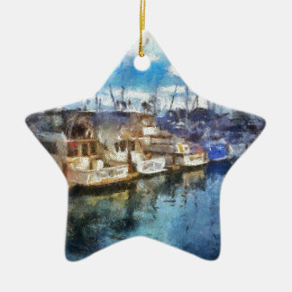 Boats in Dana Point Ceramic Star Ornament