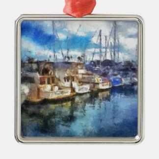 Boats in Dana Point Silver-Colored Square Ornament