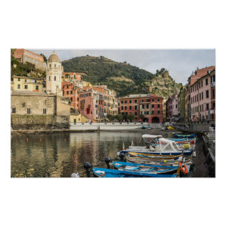 Boats in Harbor at Vernazza Italy Poster