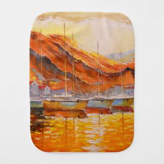 Boats in Harbor Burp Cloth