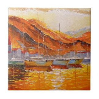 Boats in Harbor Ceramic Tile