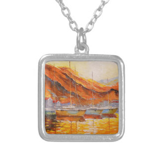 Boats in Harbor Silver Plated Necklace