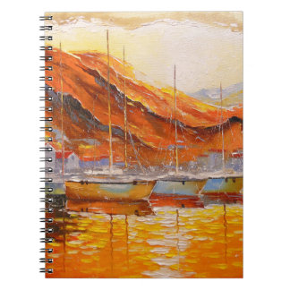 Boats in Harbor Spiral Notebook