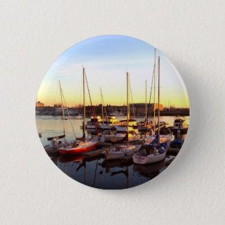 Boats in Marina in Oakland, CA 2 Inch Round Button