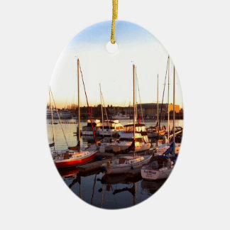 Boats in Marina in Oakland, CA Ceramic Ornament