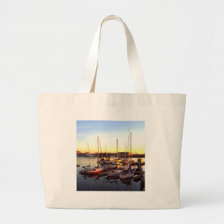 Boats in Marina in Oakland, CA Large Tote Bag