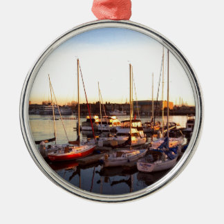Boats in Marina in Oakland, CA Metal Ornament
