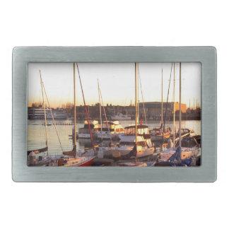 Boats in Marina in Oakland, CA Rectangular Belt Buckle