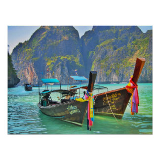 Boats in Maya Bay Poster