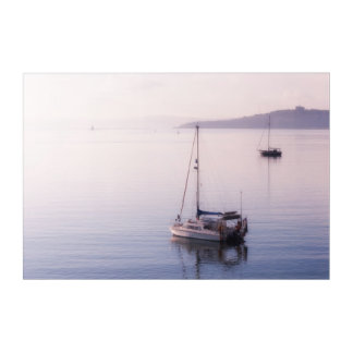 Boats in morning sea mist at St. Mawes Acrylic Wall Art