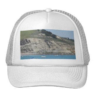 Boats in Port San Luis, Avila Beach, Hills Behind Trucker Hat