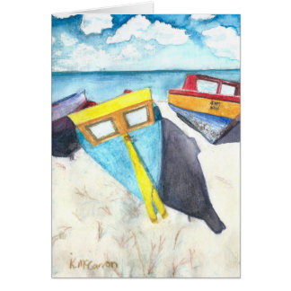 Boats in the Aruba Sun, Watercolor Print on Card