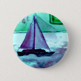 Boats in the Bathtub Sailing Art CricketDiane 2 Inch Round Button