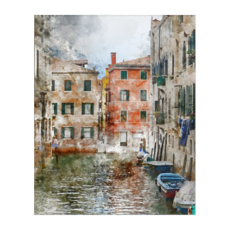 Boats in the Canals of Venice Italy Acrylic Print