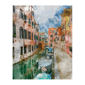 Boats in the Canals of Venice Italy Acrylic Wall Art