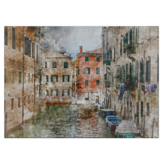 Boats in the Canals of Venice Italy Cutting Board