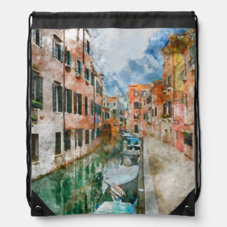 Boats in the Canals of Venice Italy Drawstring Bag