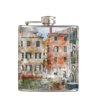 Boats in the Canals of Venice Italy Hip Flask