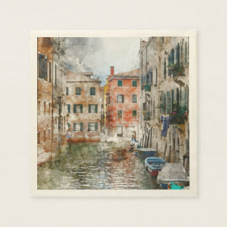 Boats in the Canals of Venice Italy Paper Napkins