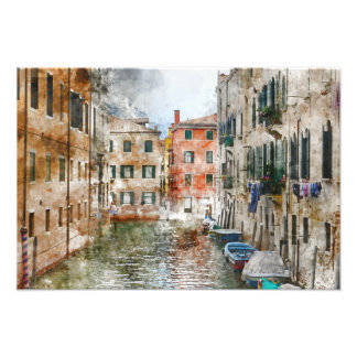 Boats in the Canals of Venice Italy Photo Print