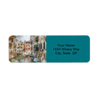 Boats in the Canals of Venice Italy Return Address Label