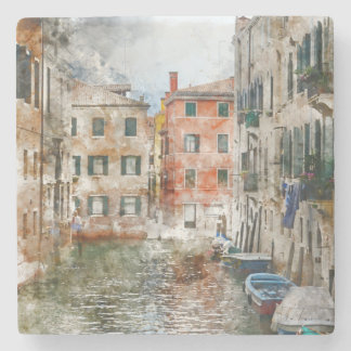 Boats in the Canals of Venice Italy Stone Beverage Coaster