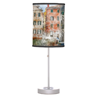 Boats in the Canals of Venice Italy Table Lamp