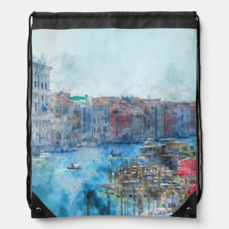 Boats in the Grand Canal in Venice Italy Drawstring Bag