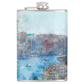 Boats in the Grand Canal in Venice Italy Hip Flask