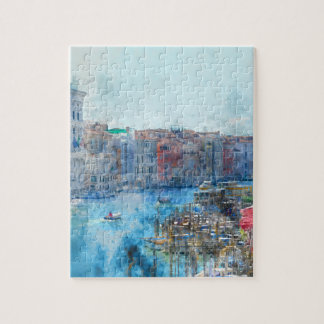 Boats in the Grand Canal in Venice Italy Jigsaw Puzzle