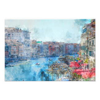 Boats in the Grand Canal in Venice Italy Photo Print