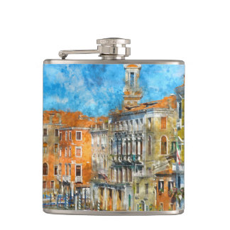 Boats in the Grand Canal of Venice Italy Hip Flask