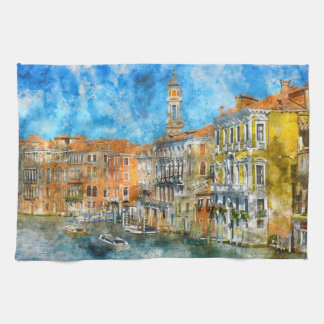Boats in the Grand Canal of Venice Italy Kitchen Towel