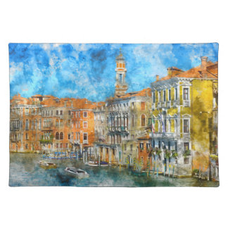 Boats in the Grand Canal of Venice Italy Placemat