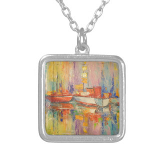 Boats in the Harbor Silver Plated Necklace