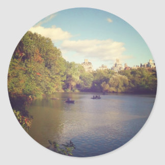 Boats in The Lake at Central Park, New York City Round Sticker