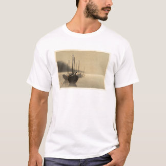 Boats in the Mist by Seitei Watanabe 1851- 1918 T-Shirt