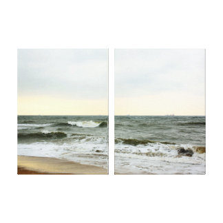 Boats in the sea and waves in the border of the be canvas prints