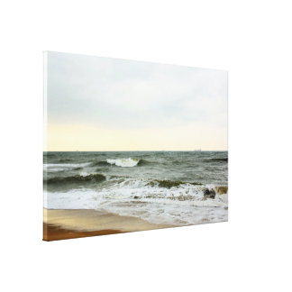 Boats in the sea and waves in the border of the be gallery wrap canvas