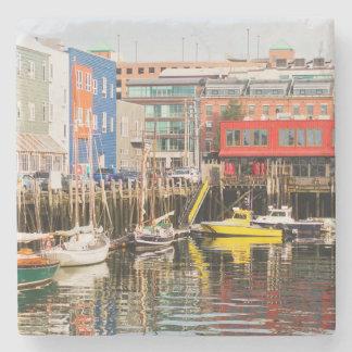 Boats Moored | Portland, Maine Stone Coaster