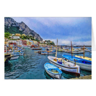 Boats of Capri Italian Photo Art Blank Card