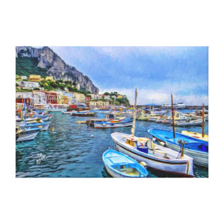 Boats of Capri Italian Photo Art Canvas Print
