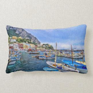 Boats of Capri Italian Photo Art Lumbar Pillow