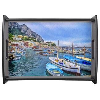 Boats of Capri Italian Photo Art Serving Tray