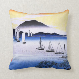 Boats on a Lake Throw Pillow