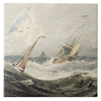 Boats on a Stormy Sea (w/c over graphite on wove p Tiles