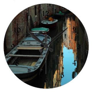 Boats on Canal Water Venice Italy Buildings Wallclocks
