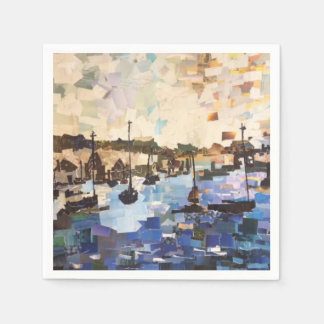 Boats On Lake Erie, Ohio Collage Paper Napkins