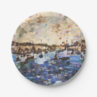 Boats On Lake Erie, Ohio Collage Paper Plates 7 Inch Paper Plate